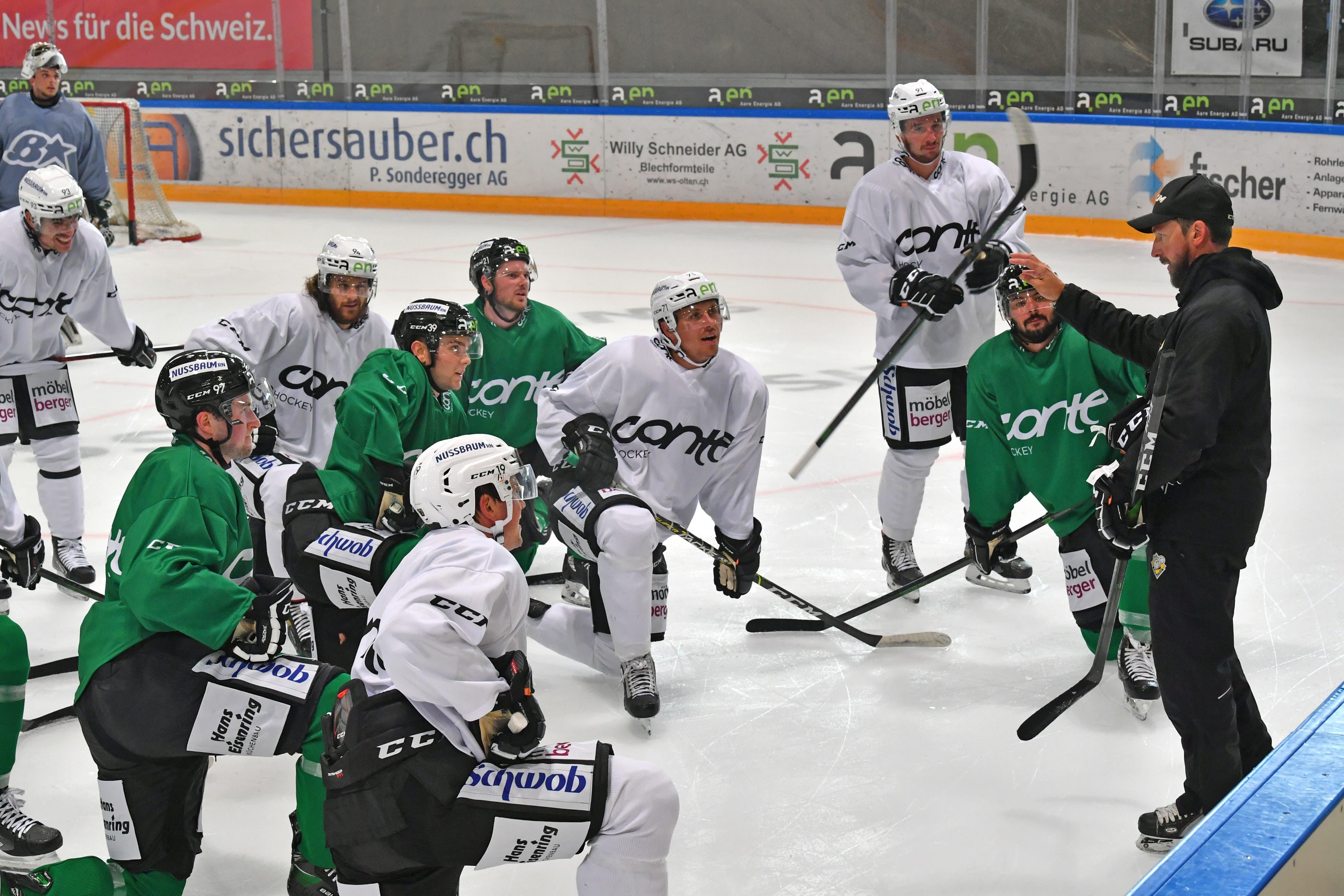 Erstes Eistraining des EHC Olten mit dem neuem Trainer Lars Leuenberger und den neuen Spielern.