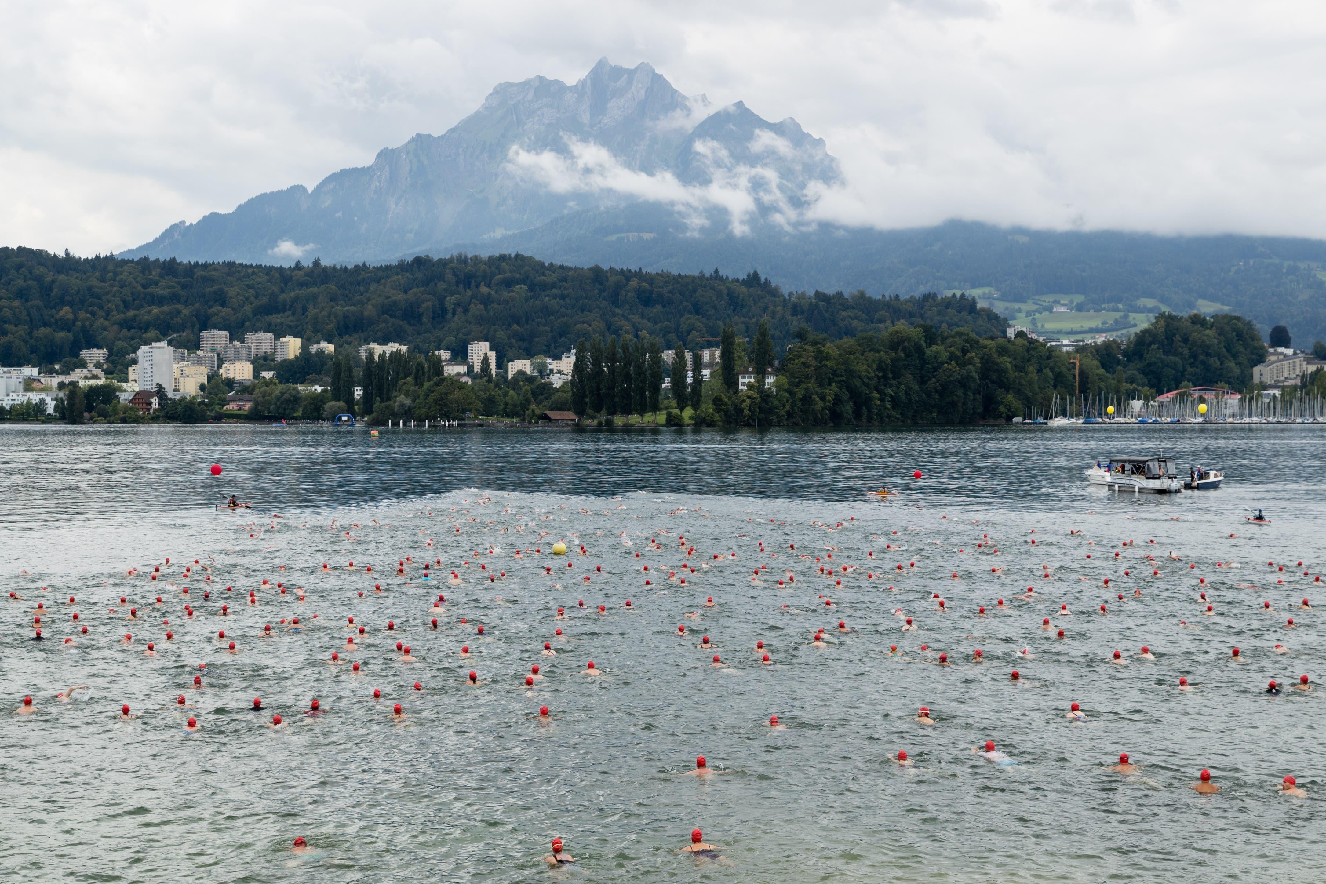 Zahlreiche Schwimmer starten zur Seeueberquerung im Strandbad Lido.