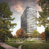 So sieht das geplante Hochhaus in einer Visualisierung aus. (Bild: PD)
