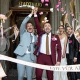 Aktion von Befürwortern der «Ehe für alle» am 10. August in Zürich. (Alexandra Wey / KEYSTONE)