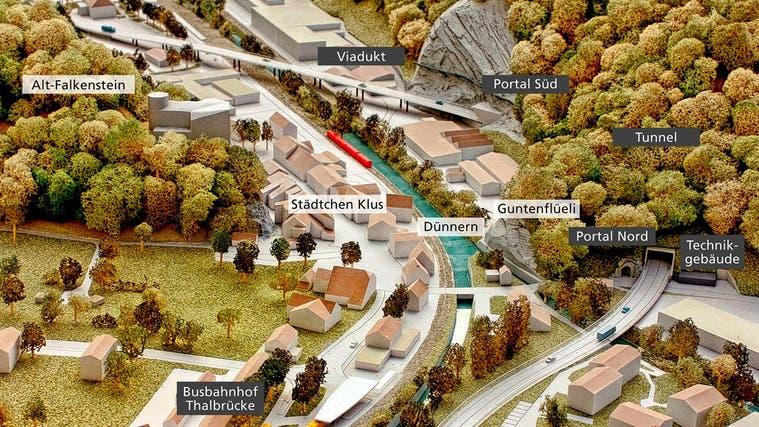 Die Umfahrung Klus besteht aus einem Trassee, einem Tunnel und einem Viadukt. (Zvg)