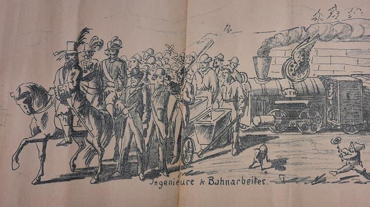Josef Meyer hielt denLaufener Fasnachtsumzug 1896 auf Papier fest. (zvg)
