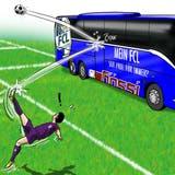 Mannschaftsbus vors Tor parkiert. (Karikatur: Silvan Wegmann)