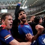 Die Spieler des FC Basel bejubeln den Einzug in die Gruppenphase der Conference League. (Fresh)