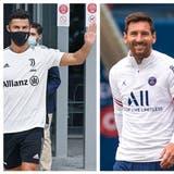 Cristiano Ronaldo, Lionel Messi und Kylian Mbappé(v.l.) wirbeln den Transfermarkt diesen Sommer kräftig durcheinander. (Bilder: Keystone / Montage: CHM)