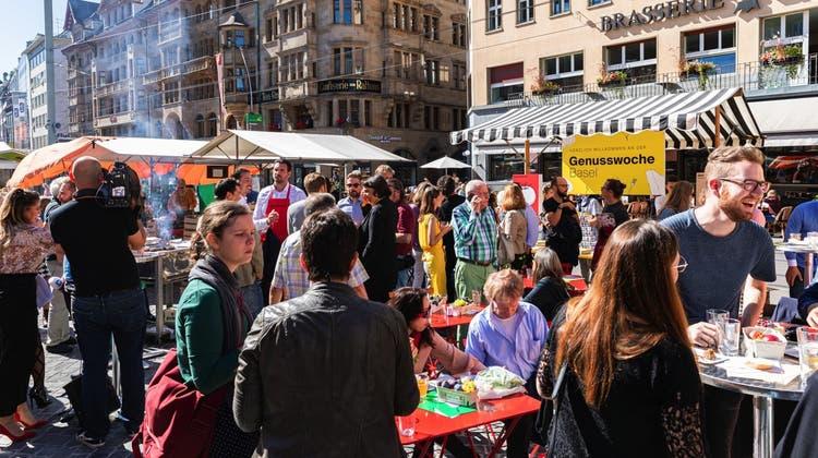 Die Genusswoche im Jahr 2019 auf dem Basler Marktplatz. (Zvg)