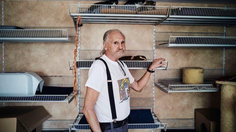 Günther Weber, Besitzer des Katzenasyls «Zur letzten Zuflucht». (Roland Schmid)