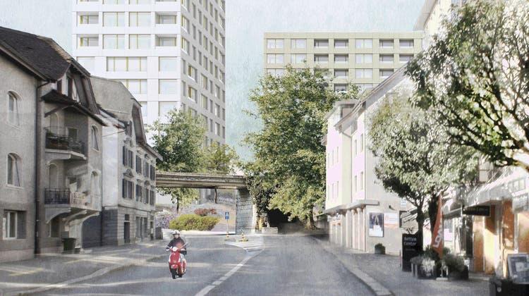 So soll der Schadenmühleplatz einst auf der Ostseite aussehen. (Visualisierung: © Galli Rudolf Architekten AG ETH BSA)