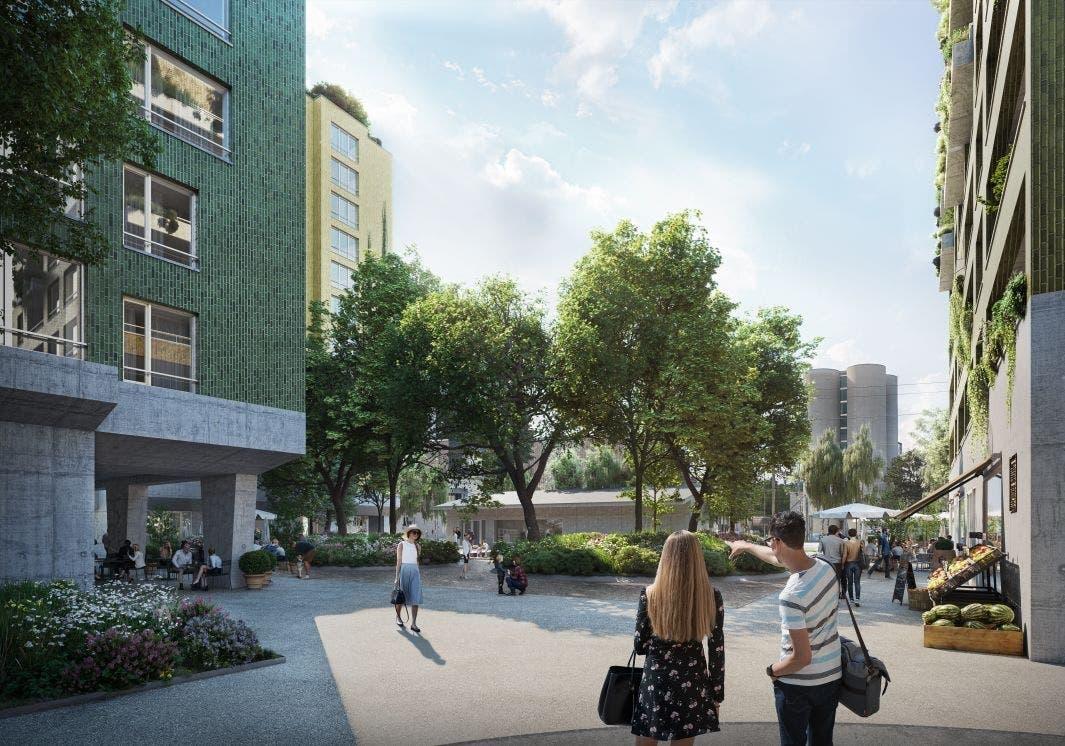 In der MItte des neuen Quartiers ist ein öffentlicher Platz vorgesehen.
