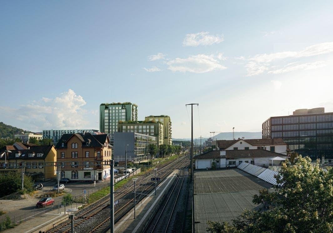 Vorgesehen ist ein neues, städtisch dichtes Quartier unmittelbar beim Bahanhof Münchenstein