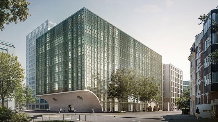 Der Neubau anstelle des alten Biozentrums soll gleich hoch werden. (Visualisierung: zvg)