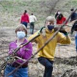 Frauenfelder Gymnasiastinnen und Gymnasiasten stehen im Rahmen des Social Day der Kanti im Naturschutzgebiet Allmend im Einsatz. (Bild: Donato Caspari (22. März 2021))