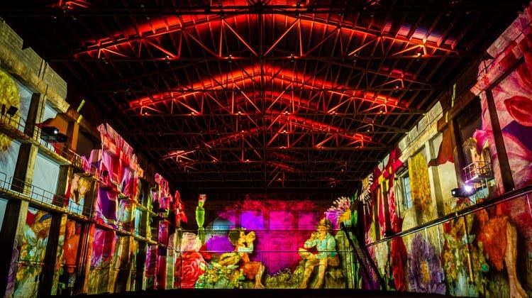 Projektion von «Heidi» in der Kiesofenhalle Attisholz Nord in Riedholz. (Makanart)