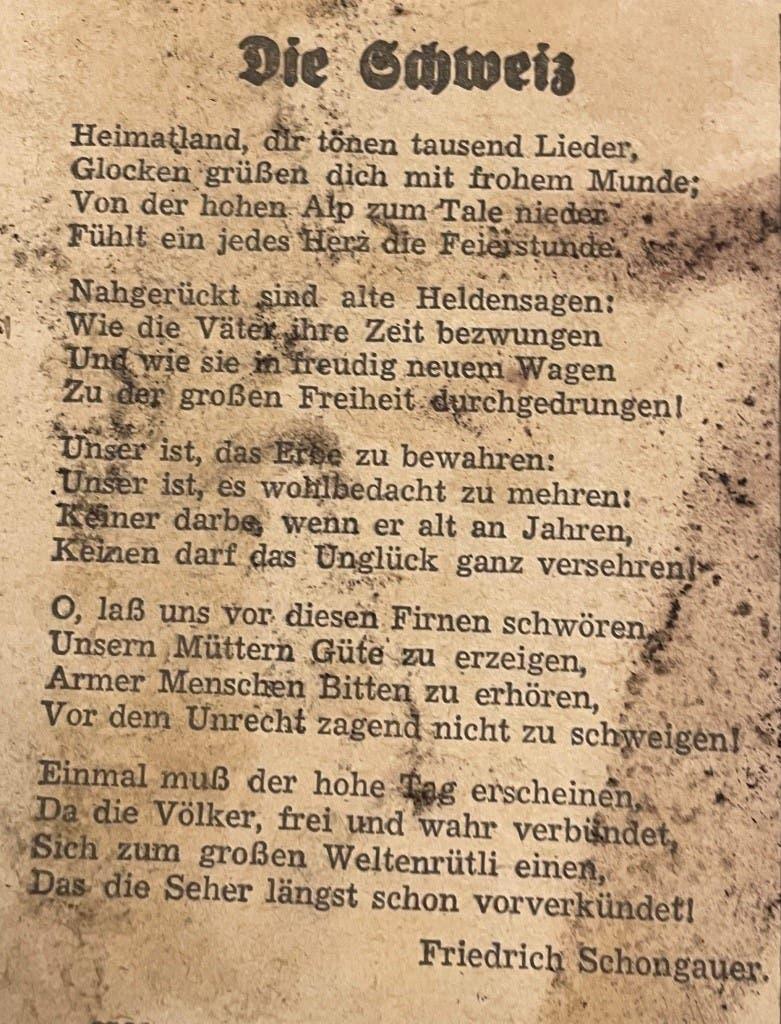 Ein Gedicht des deutschen Dichters Friedrich Schongauer zierte die Titelseite des «Limmattaler Tagblattes» an diesem 1. August