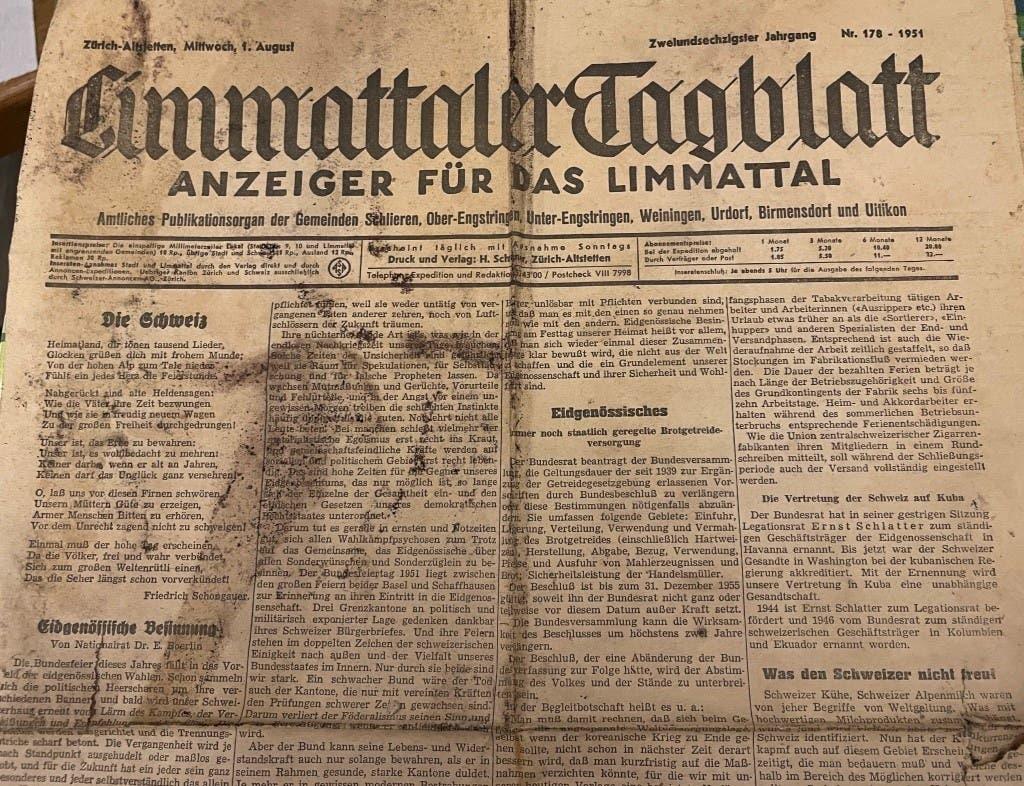 Unter den Zeitungen in der Schatulle wurde auch ein Exemplar des «Limmattaler Tagblatts» gefunden.