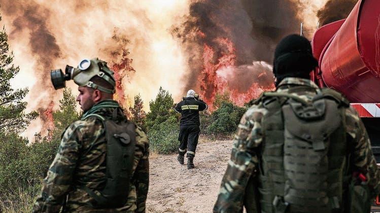 Raus aus der Feuerhölle im Norden Athens: In Griechenland fliehen Tausende vor den Flammen – Schweiz sendet Hubschrauber