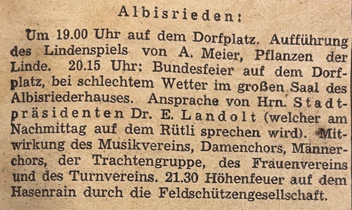 Darin wurde auch die Einpflanzung der Linde in Albisrieden angekündigt.
