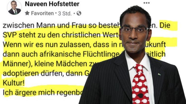 Naveen Hofstetterentschuldigt sich auf Facebook – er sieht seine Aussage als deplatziert, aber nicht als rassistisch. (Screenshot Facebook/ Chris Iseli(Montage: AZ))