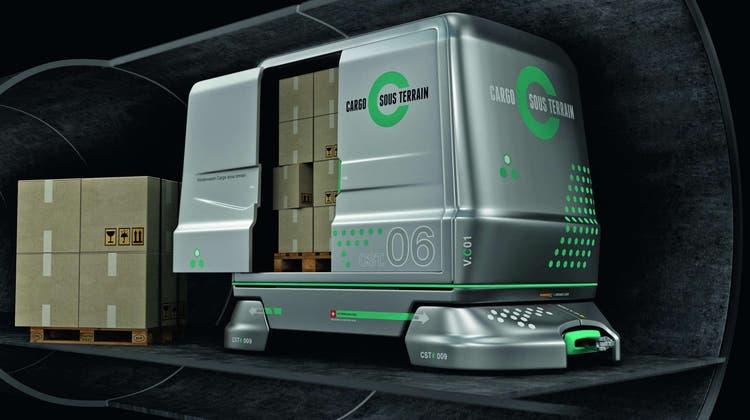 Auf solchen Fahrzeugen sollen Güter dereinst unterirdisch durchs Land beflrdert werden. (cst)