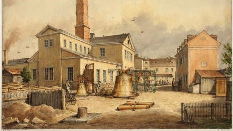 Die Selbstdarstellung eines industriellen Betriebs in Dresden: die «Königlich-Sächsische Stück- und Glockengiesserei» von Johann Gotthelf. (Bild: Wikicommons)