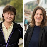 Esther Frischknecht (links) und Steffi Kessler: Unterschiedlicher könnten ihre Vorstellungen zur Zukunft der Stadt Baden kaum sein. (Bilder: Severin Bigler, Tibor Nad)