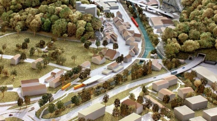 Hauptsächlich umstritten: Der Viadukt über Bahngleis, Dünnern und Industriegebiet in der Klus Balsthal im Modell. (zvg)