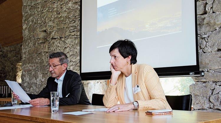 Die St.Galler Regierungsrätin Susanne Hartmann war nach St.Margrethen in den Romenschwanden-Torkel gekommen, um das Aggloprogramm Rheintalden Medien vorzustellen. (Bild: Gert Bruderer)