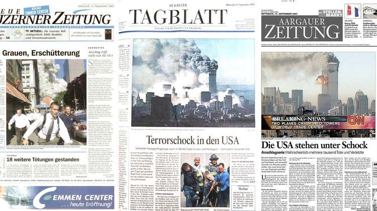Die Titelseiten der heutigen CH Media Titel vom 12. September 2001. (Bild: CH Media)