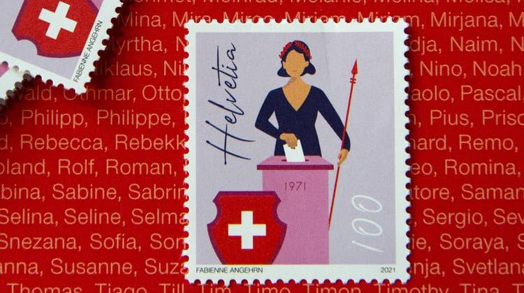 Zum 50-Jahr-Jubiläum des Wahl- und Stimmrechts für Frauen hat die Post eine Briefmarke herausgegeben. (Bild: Salvatore Di Nolfi / Keystone)