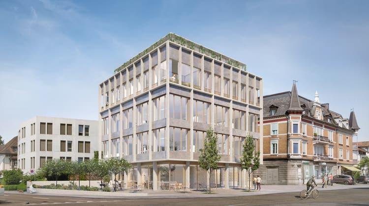 Die neue Visualisierung zeigt das überarbeitete Geschäftshaus, das an der Bahnhofstrasse 24 entstehen soll. (Zvg/Architheke AG/Nightnurse Images Gmbh)