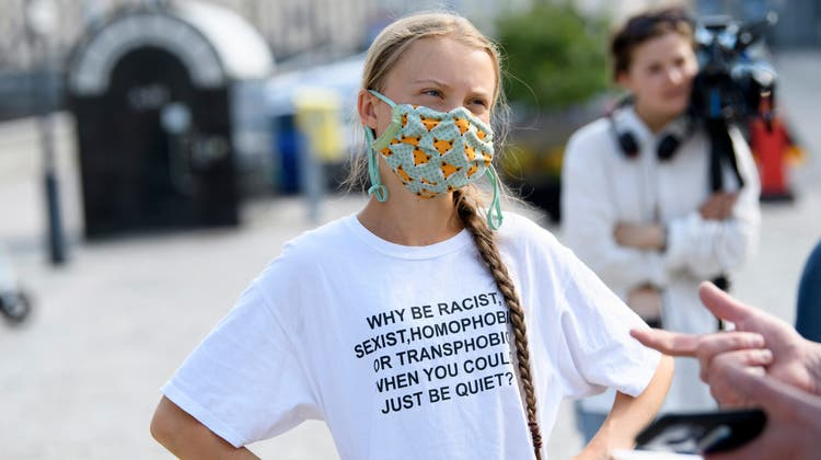 Greta Thunberg an einem Klimaprotest in Stockholm im Juni 2021 (Keystone)