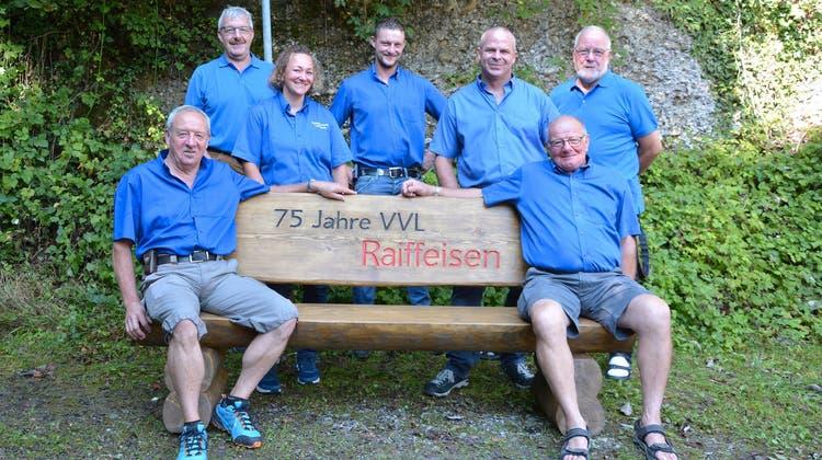 Der heutige Vorstand des Verkehrsvereins, hinten, von links: Werner Künzli, Denise Widmer, Christian Aerne, Thomas Rüegg (Präsident) und Fredy Peyer. Vorne, von links: Ignaz Ott und Willi Bürge. (Bild: Beat Lanzendorfer)