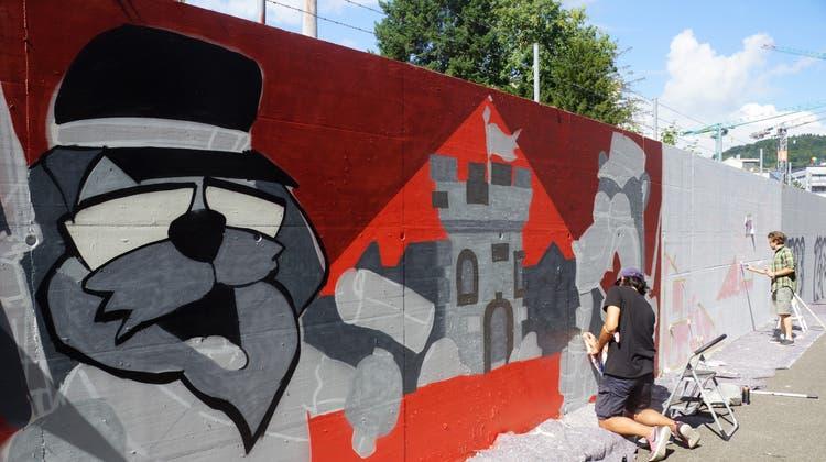 Unter den Themen, die sich an der Wand entfalten, ist auch die Geschichte der Ruine Stein. (Manuel Funk)