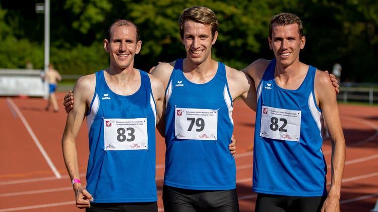 Erfolgreiches Team: Matthias Schöpfer, Luca Jost und Jonas Schöpfer (von links). (Bild: Hanspeter Roos (Hochdorf, 13. September 2021))