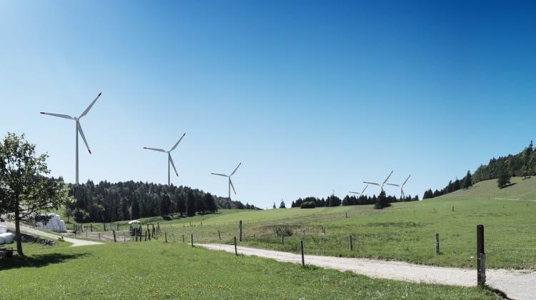 So soll der Windpark auf dem Grenchenberg einmal aussehen. Sicht vom Oberen Grenchenberg. (Swg / AAR)