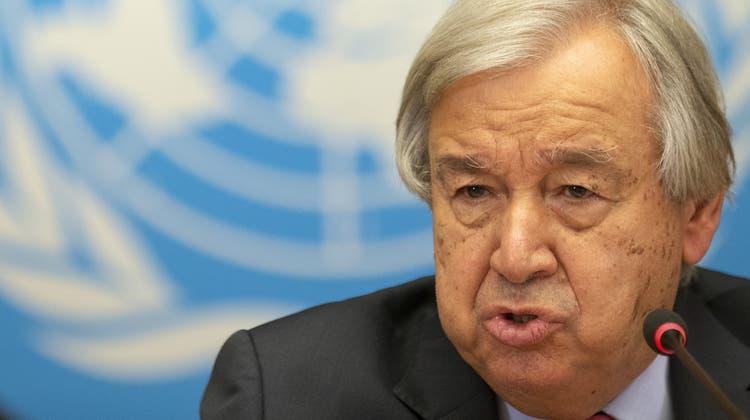 UNO-Generalsekretär Antonio Guterres in Genf: «Die Menschen in Afghanistan warten auf Rettung.» (Salvatore Di Nolfi / KEYSTONE)