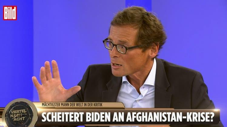 Dauergast beim Springer-Verlag: Roger Köppel bei Bild TV. Für den Schweizer Verleger ist die tägliche Talkshow die «beste in Deutschland». (Screenshot)