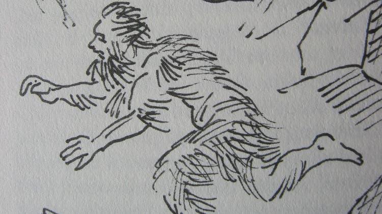 Der in den Churfirsten lebende, später «Seluner»genannte Mann versucht, den Sennen zu entkommen. (Illustration: Ernst Bänziger)