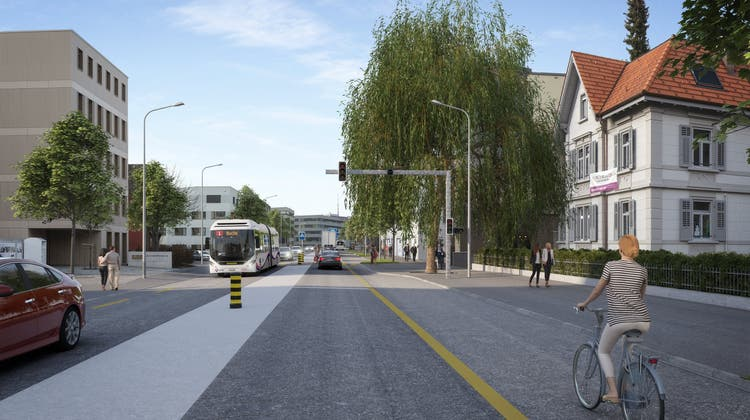 So soll die Aarauerstrasse künftig aussehen (Blick auf Höhe Villa Oehler). (Zvg Kanton Aargau)