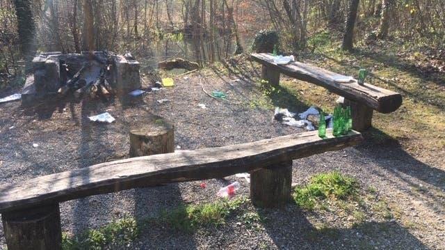 Immer öfter werden schöne Plätze in der Natur verschmutzt und verwüstet zurückgelassen. (Leserbild / Limmattaler Zeitung)