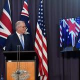 Die Regierungsspitzen Grossbritanniens, Australiens und der USA (von links) (Bild: keystone)