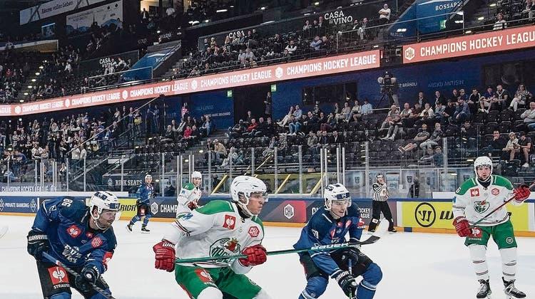 Tristesse in der Champions Hockey League: 2148 EVZ-Fans besuchten das Spiel gegen Rögle BK. (Bild: Freshfocus (Zug, 2. September 2021))