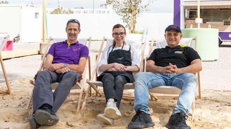 Martin Keller, Regula Rottmann und Suli Kass sorgen neu für ein kulinarisches Angebot auf dem Luberzenareal in Urdorf-Nord. (Valentin Hehli)