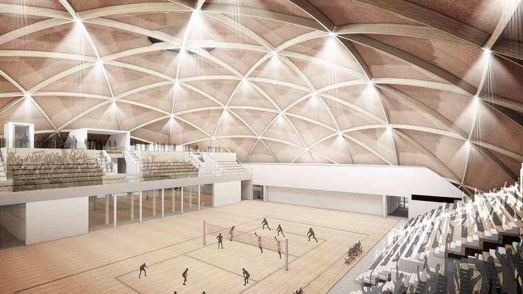 Es wird nichts aus internationalen Volleyball-Spielen in Aesch. Visualisierung des abgelehnten Doms. (Häring & Co. AG)
