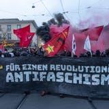 Musik für linke Aktivistinnen und Aktivisten: Bild einer «Basel Nazifrei»-Demonstration auf dem Barfüsserplatz. (Bild: Keystone (28. November 2020))