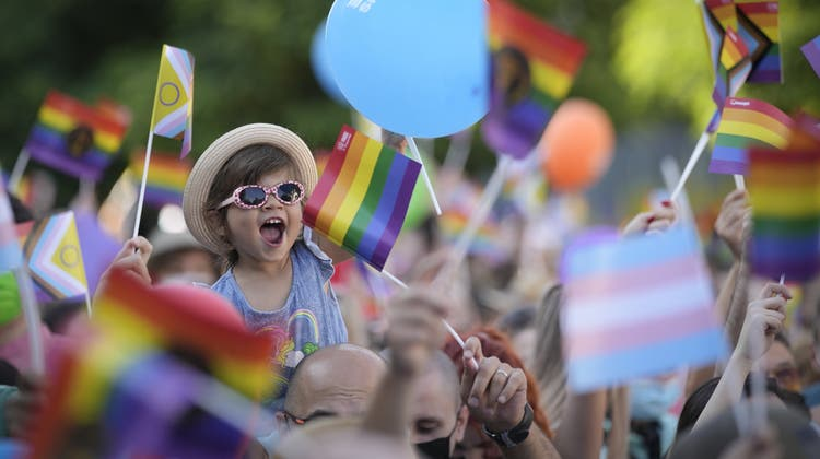 Ein kleines Mädchen feiert in Bukarest während der Pride. (Vadim Ghirda / AP)