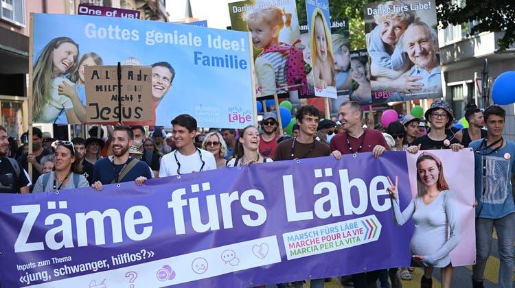 Der «Marsch fürs Läbe» startete dieses Jahr in Oerlikon. (Keystone)