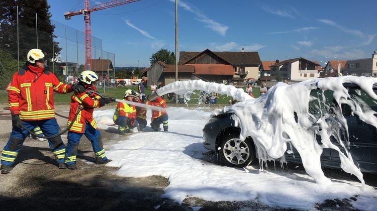 An der Hauptübung löschte die Regio-Feuerwehr Freiamt Mitte etwa auch ein brennendes Fahrzeug. (Bild: Walter Christen)