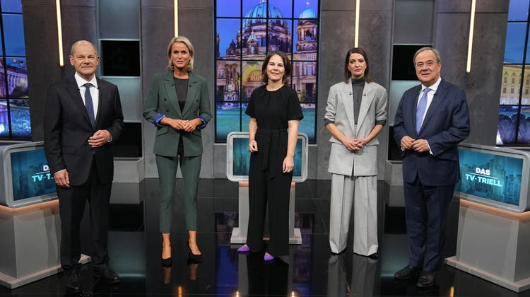 Letztes Triell bei Sat1/Pro7: Olaf Scholz (links aussen), Annalena Baerbock (Mitte) und Armin Laschet (rechts). (Kay Nietfeld / dpa/19.09.2019)
