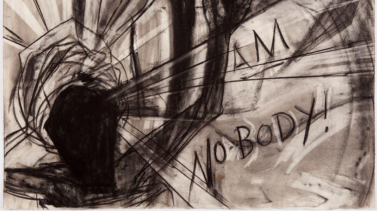 Die US-Amerikanerin Kara Walker zeichnet gegen Diskriminierung, Rassismus und sexuelle Gewalt. «Am No Body» lesen wir als Hilferuf und Protest der schwarzen Figur. «Untitled», setzte Walker selber über das Blatt von 2011. (Bild: Collection of Randi Charno Levine © Kara Walker)